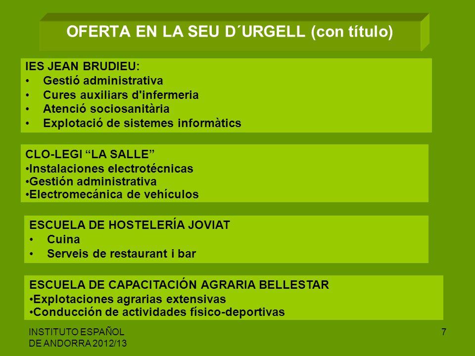 INSTITUTO ESPAÑOL DE ANDORRA 2012/13 7 OFERTA EN LA SEU D´URGELL (con título) IES JEAN BRUDIEU: Gestió administrativa Cures auxiliars d'infermeria Ate