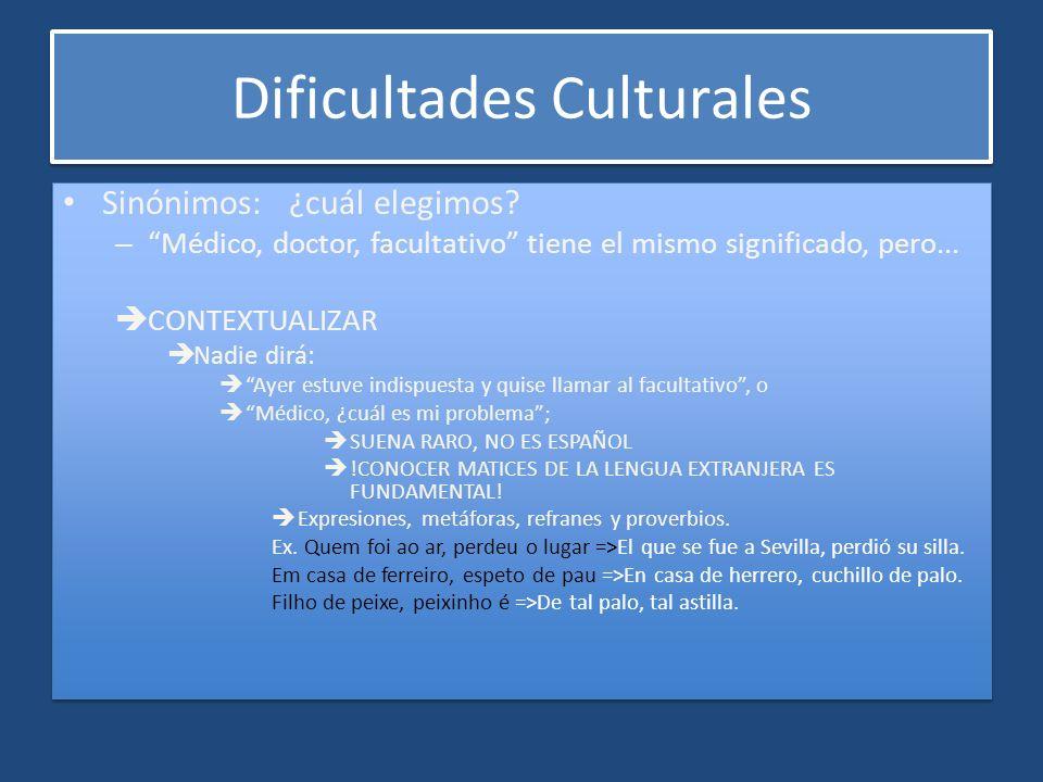 Dificultades Culturales Sinónimos: ¿cuál elegimos? – Médico, doctor, facultativo tiene el mismo significado, pero... CONTEXTUALIZAR Nadie dirá: Ayer e