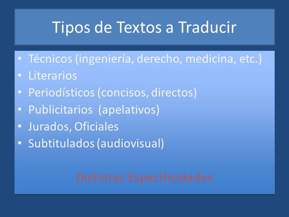 Tipos de Textos a Traducir Técnicos (ingeniería, derecho, medicina, etc.) Literarios Periodísticos (concisos, directos) Publicitarios (apelativos) Jur