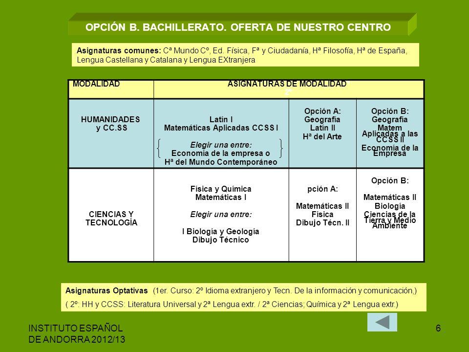 INSTITUTO ESPAÑOL DE ANDORRA 2012/13 6 OPCIÓN B. BACHILLERATO. OFERTA DE NUESTRO CENTRO MODALIDAD ASIGNATURAS DE MODALIDADº 2º HUMANIDADES y CC.SS Lat