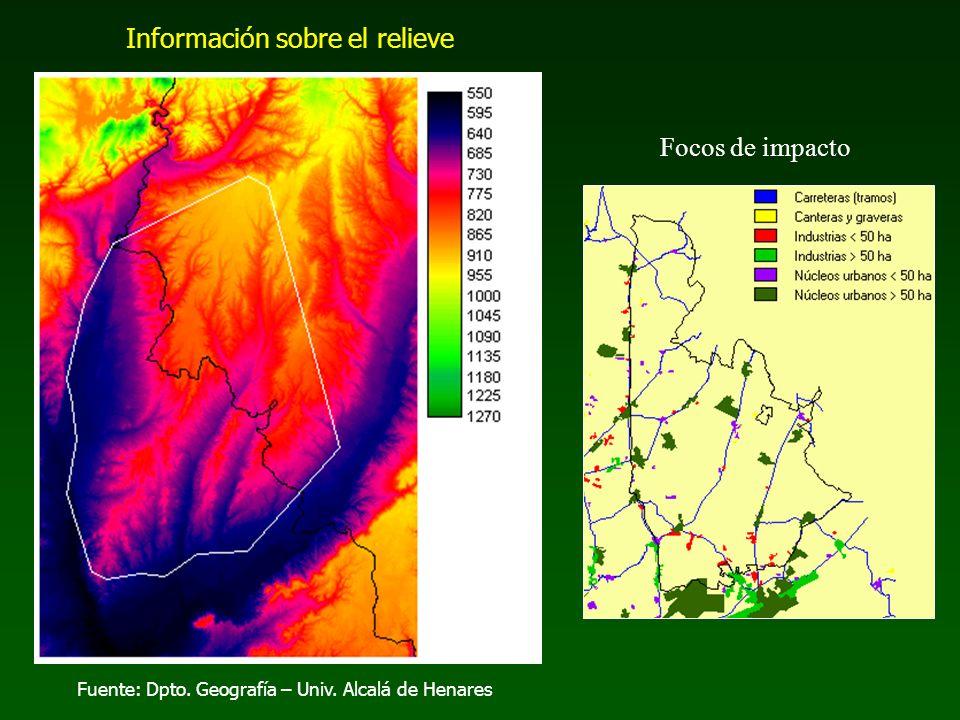 Fuente: Dpto. Geografía – Univ. Alcalá de Henares Información sobre el relieve Focos de impacto