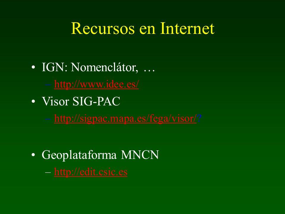 IGN: Nomenclátor, … –http://www.idee.es/http://www.idee.es/ Visor SIG-PAC –http://sigpac.mapa.es/fega/visor/?http://sigpac.mapa.es/fega/visor/ Geoplat