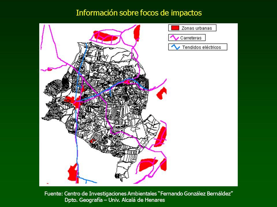 Fuente: Centro de Investigaciones Ambientales Fernando González Bernáldez Dpto. Geografía – Univ. Alcalá de Henares Información sobre focos de impacto