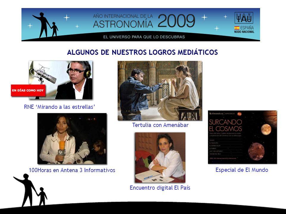 ALGUNOS DE NUESTROS LOGROS MEDIÁTICOS RNE Mirando a las estrellas 100Horas en Antena 3 Informativos Encuentro digital El País Especial de El Mundo Ter