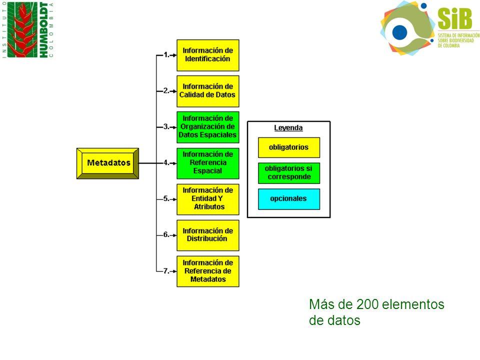 Más de 200 elementos de datos