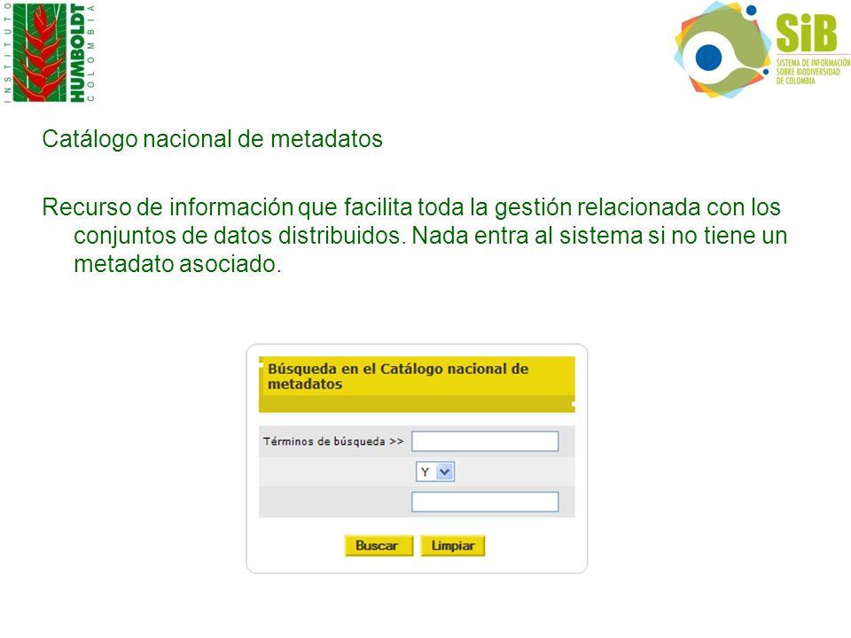 Catálogo nacional de metadatos Recurso de información que facilita toda la gestión relacionada con los conjuntos de datos distribuidos. Nada entra al