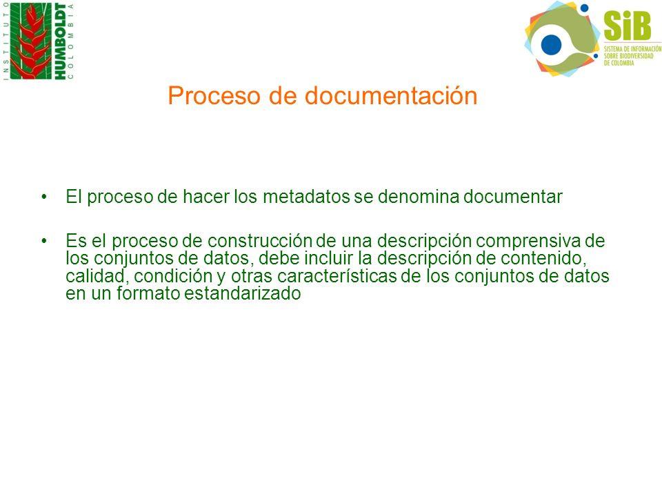 Proceso de documentación El proceso de hacer los metadatos se denomina documentar Es el proceso de construcción de una descripción comprensiva de los