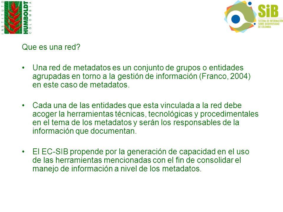 Que es una red? Una red de metadatos es un conjunto de grupos o entidades agrupadas en torno a la gestión de información (Franco, 2004) en este caso d