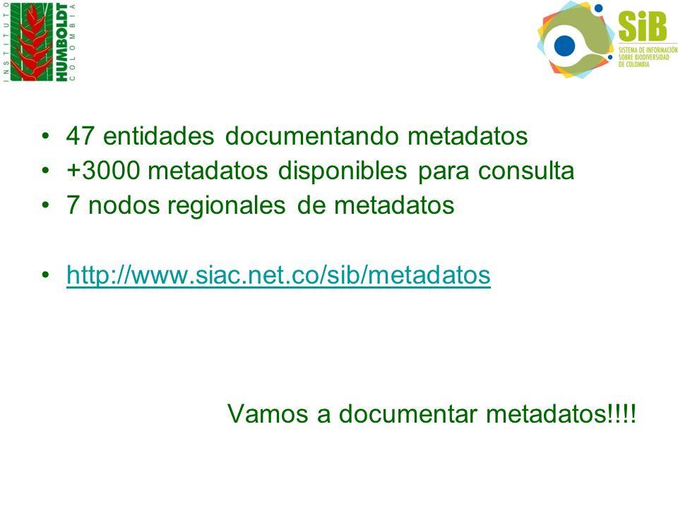 47 entidades documentando metadatos +3000 metadatos disponibles para consulta 7 nodos regionales de metadatos http://www.siac.net.co/sib/metadatos Vam