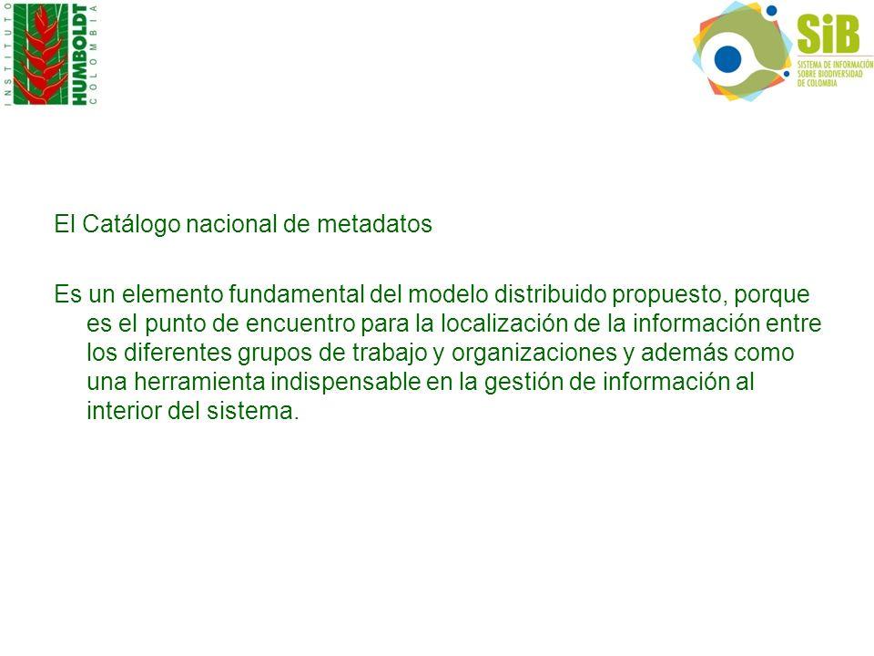 El Catálogo nacional de metadatos Es un elemento fundamental del modelo distribuido propuesto, porque es el punto de encuentro para la localización de