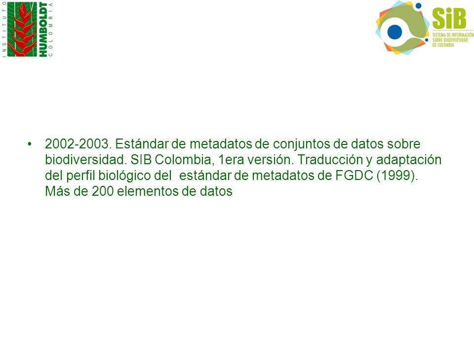 2002-2003. Estándar de metadatos de conjuntos de datos sobre biodiversidad. SIB Colombia, 1era versión. Traducción y adaptación del perfil biológico d