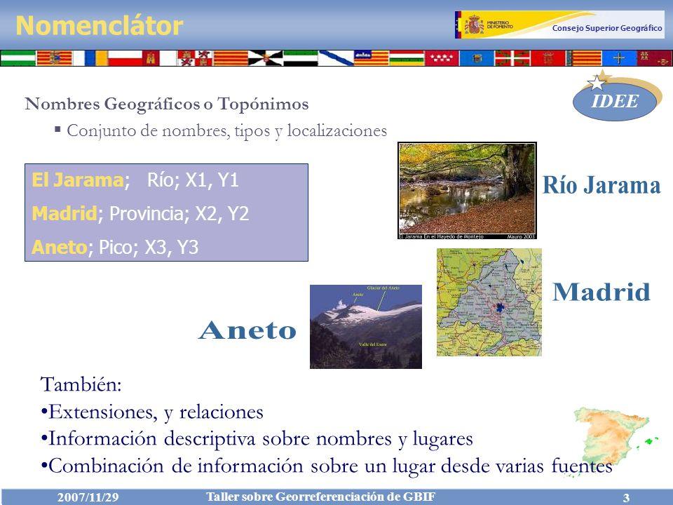 Consejo Superior Geográfico IDEE 2007/11/29 Taller sobre Georreferenciación de GBIF 4 Nomenclátor (ISO 19112) Catálogo de entidades geográficas o fenómenos que contiene cierta información sobre su posición (por coordenadas o descriptiva) La información de posición no tiene por qué ser en forma de coordenadas, puede ser descriptiva.
