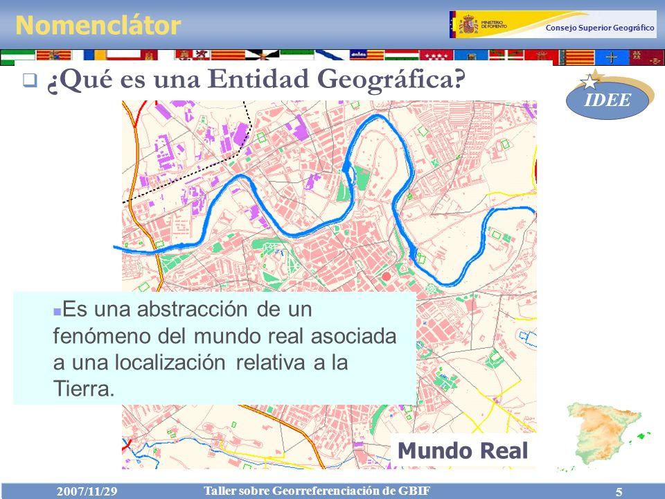 Consejo Superior Geográfico IDEE 2007/11/29 Taller sobre Georreferenciación de GBIF 6 (Vocabulario Controlado) Nomenclátor ¿Qué es una Entidad Geográfica?