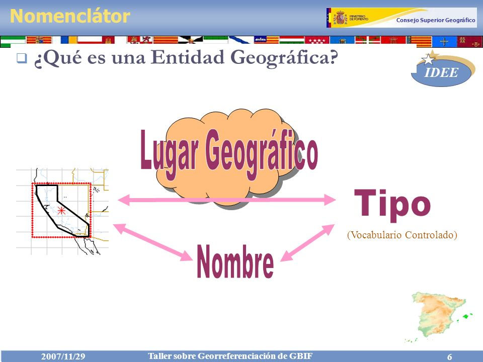 Consejo Superior Geográfico IDEE 2007/11/29 Taller sobre Georreferenciación de GBIF 7 Entidad: Abstracción de un fenómeno del mundo real asociado a una localización relativa a la Tierra.