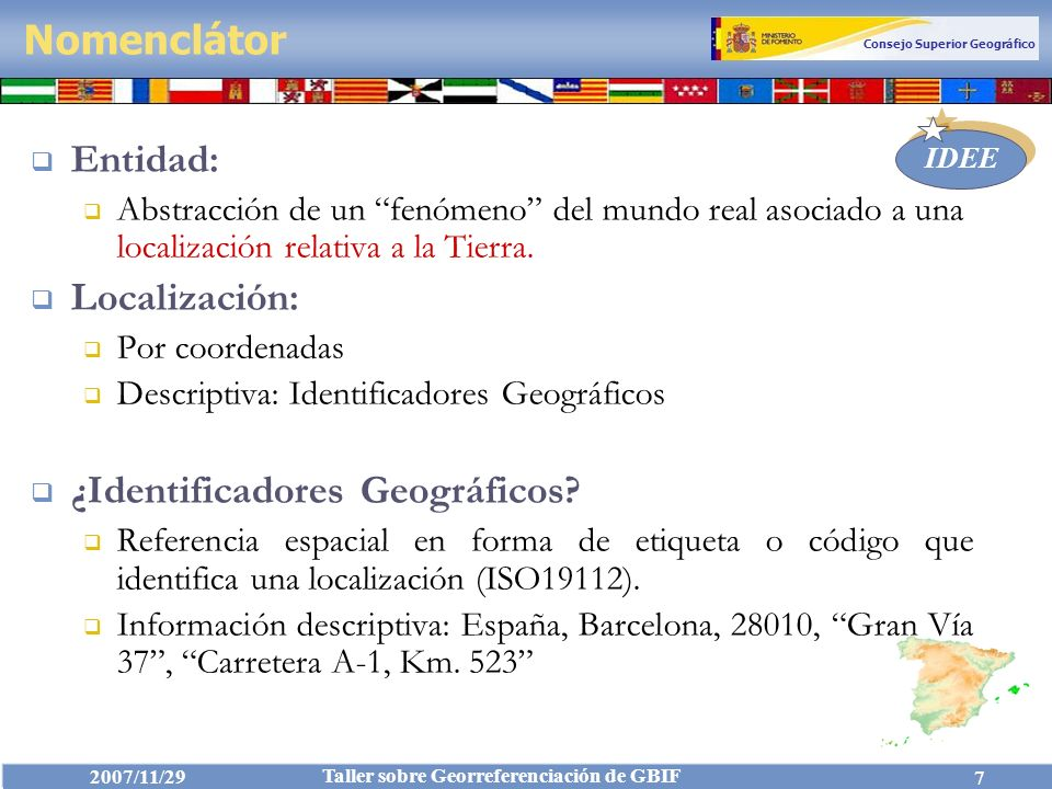 Consejo Superior Geográfico IDEE 2007/11/29 Taller sobre Georreferenciación de GBIF 68 1-IdEntidad 2-NombreEntidad Nombre Idioma ClaseNombre Estatus IdFuente 3-TipoEntidad ClaseEntidad CatálogoEntidades 4-PosiciónEspacial Geometría Coordenadas SistemaReferencia 5-Entidad-Local Provincia Campos Obligatorios: Resumen Esquema