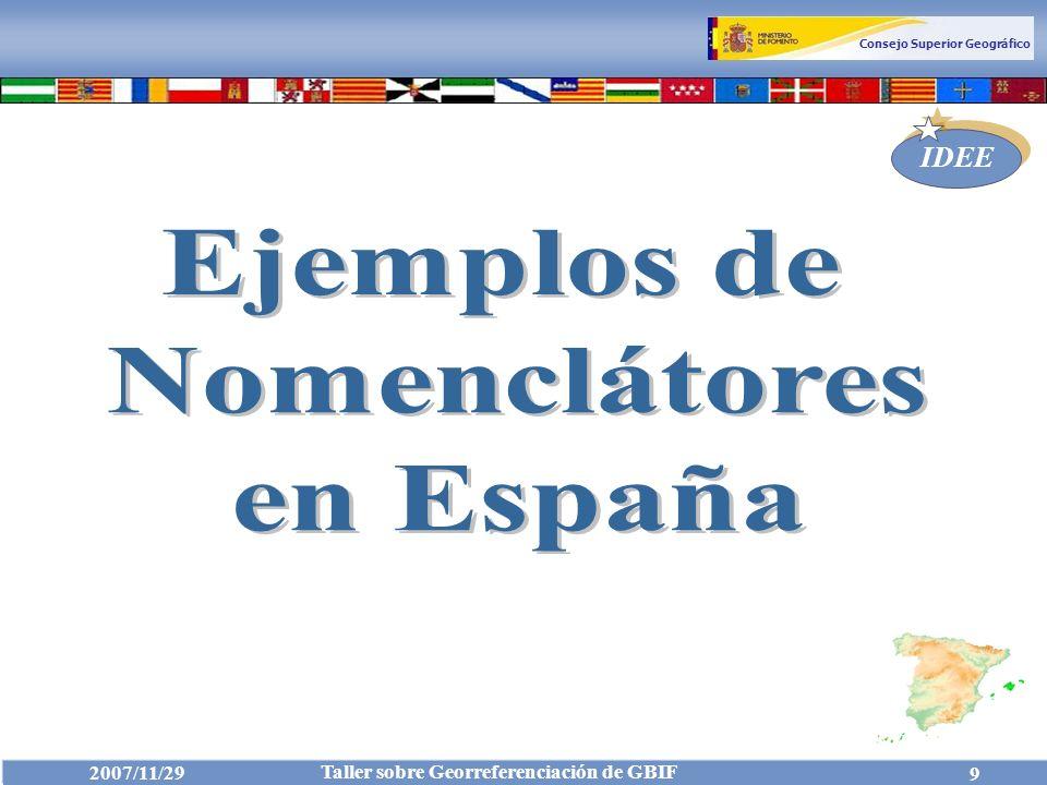Consejo Superior Geográfico IDEE 2007/11/29 Taller sobre Georreferenciación de GBIF 20 Nomenclátor Conciso: Campos Nomenclátor: Ejemplos http://www.idee.es/show.do?to=pideep_conciso.ES