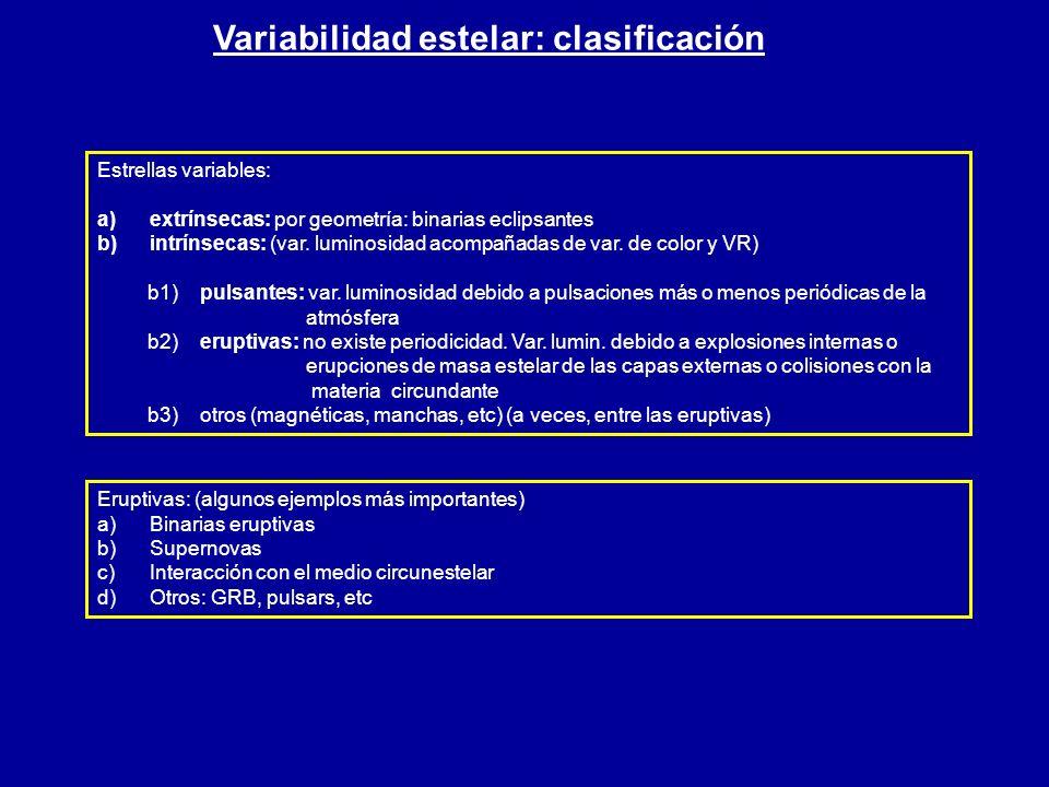 Variabilidad estelar: clasificación Estrellas variables: a) a)extrínsecas: por geometría: binarias eclipsantes b) b)intrínsecas: (var. luminosidad aco