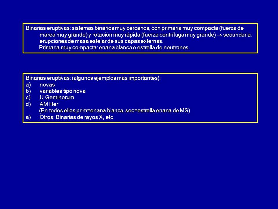 Binarias eruptivas: (algunos ejemplos más importantes): a) a)novas b) b)variables tipo nova c) c)U Geminorum d) d)AM Her (En todos ellos prim=enana bl