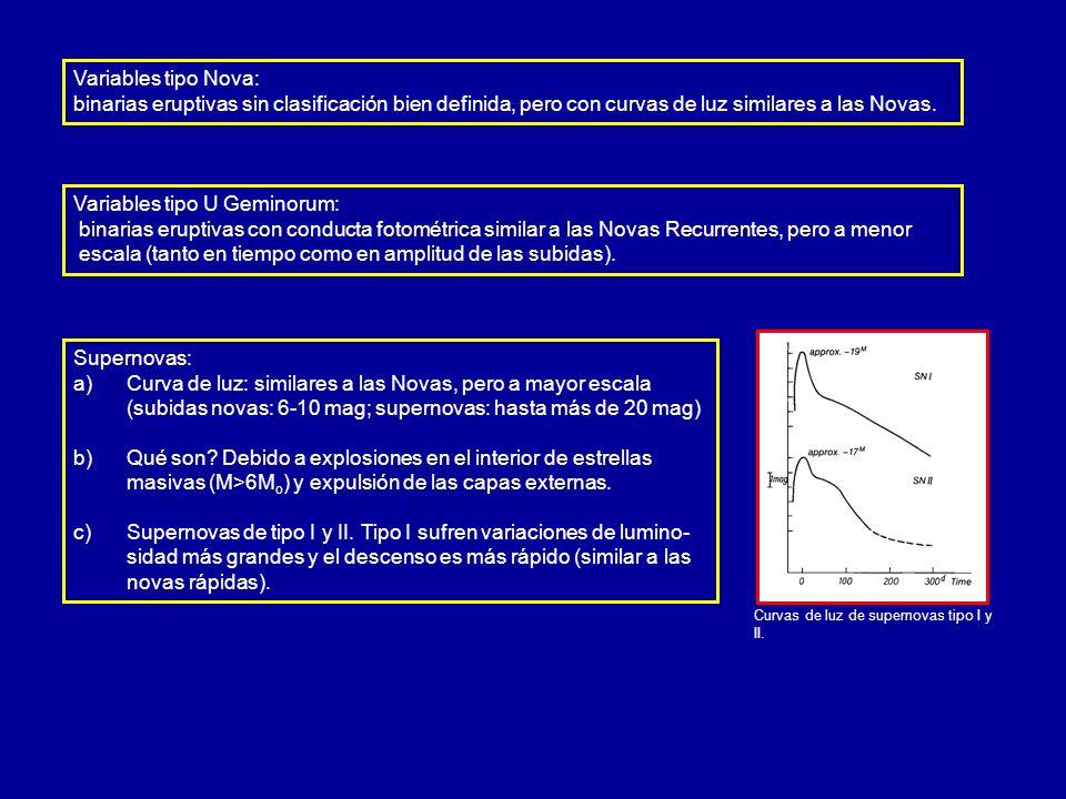 Supernovas: a) a)Curva de luz: similares a las Novas, pero a mayor escala (subidas novas: 6-10 mag; supernovas: hasta más de 20 mag) b) b)Qué son? Deb