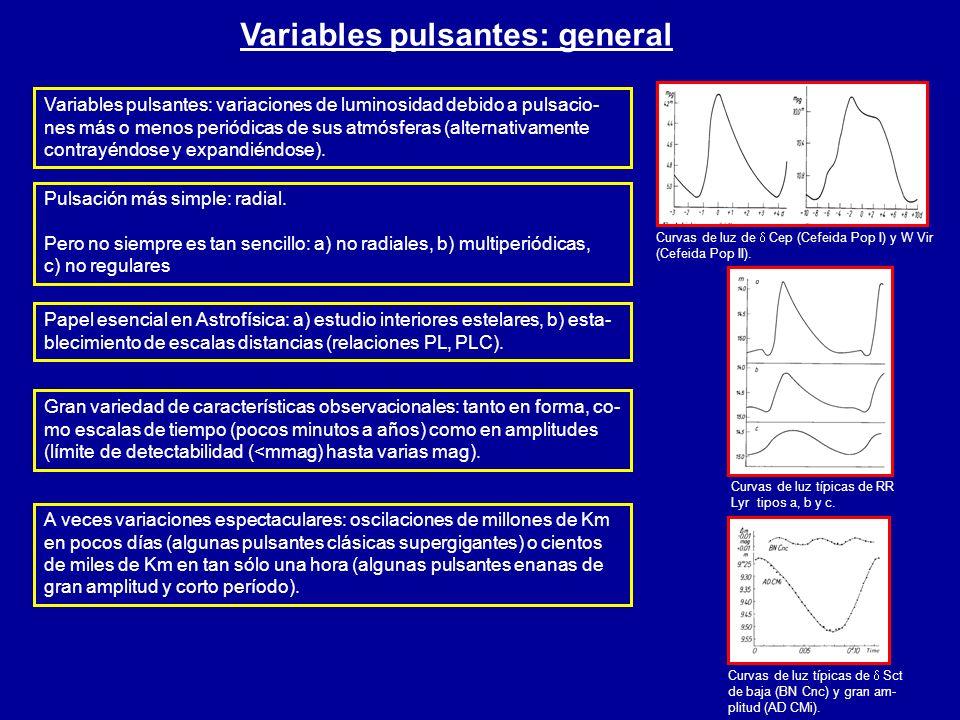 Variables pulsantes: general Curvas de luz de Cep (Cefeida Pop I) y W Vir (Cefeida Pop II). Curvas de luz típicas de RR Lyr tipos a, b y c. Curvas de