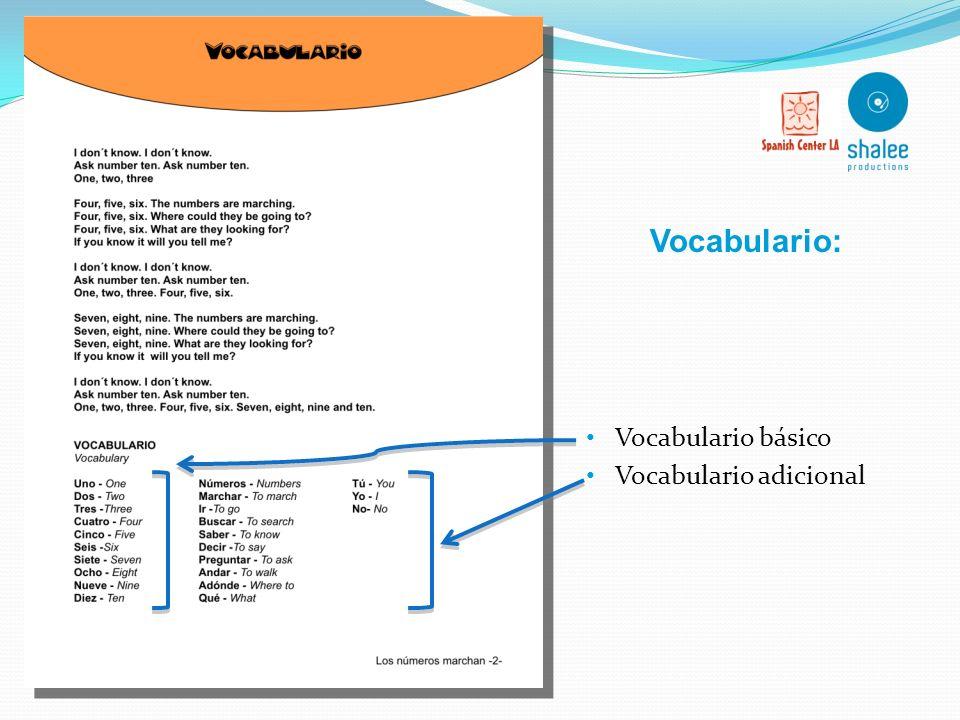 Letra de la canción en español y traducción libre al inglés. Ilustraciones coloridas relacionadas con la temática de la canción y la lección. Utilizac