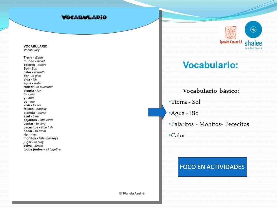 Vocabulario y construcciones gramaticales mas avanzadas Mezcla tematica: animales, colores, etc Canción y traducción libre :