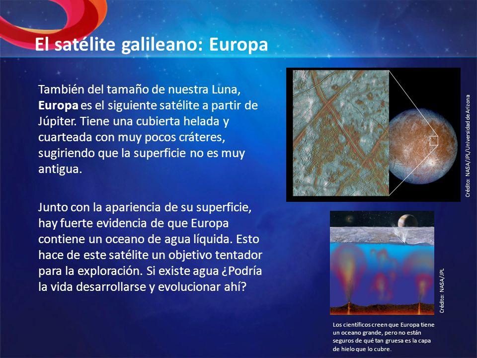 El satélite galileano: Europa También del tamaño de nuestra Luna, Europa es el siguiente satélite a partir de Júpiter. Tiene una cubierta helada y cua