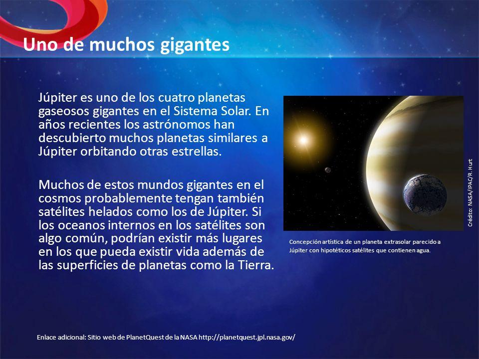 Uno de muchos gigantes Júpiter es uno de los cuatro planetas gaseosos gigantes en el Sistema Solar. En años recientes los astrónomos han descubierto m