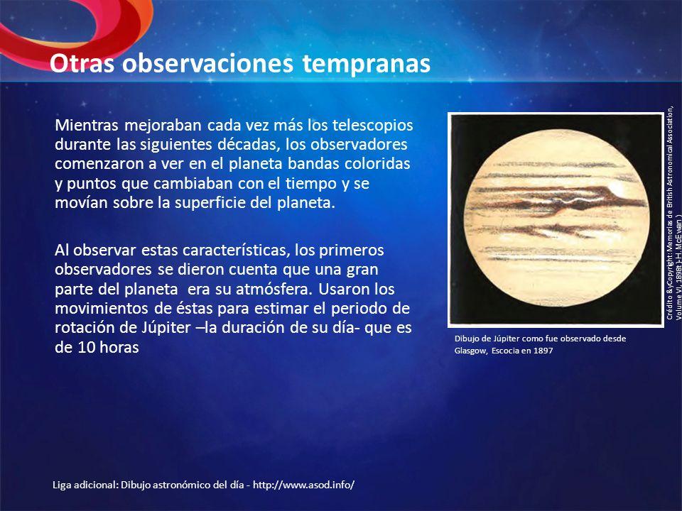 Otras observaciones tempranas Mientras mejoraban cada vez más los telescopios durante las siguientes décadas, los observadores comenzaron a ver en el