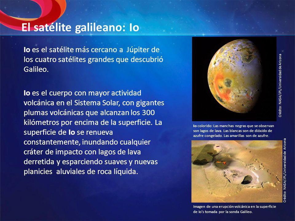 El satélite galileano: Io Io es el satélite más cercano a Júpiter de los cuatro satélites grandes que descubrió Galileo. Io es el cuerpo con mayor act