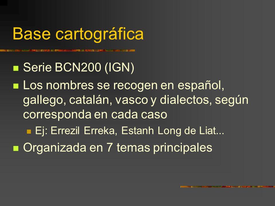 Base cartográfica Serie BCN200 (IGN) Los nombres se recogen en español, gallego, catalán, vasco y dialectos, según corresponda en cada caso Ej: Errezil Erreka, Estanh Long de Liat...
