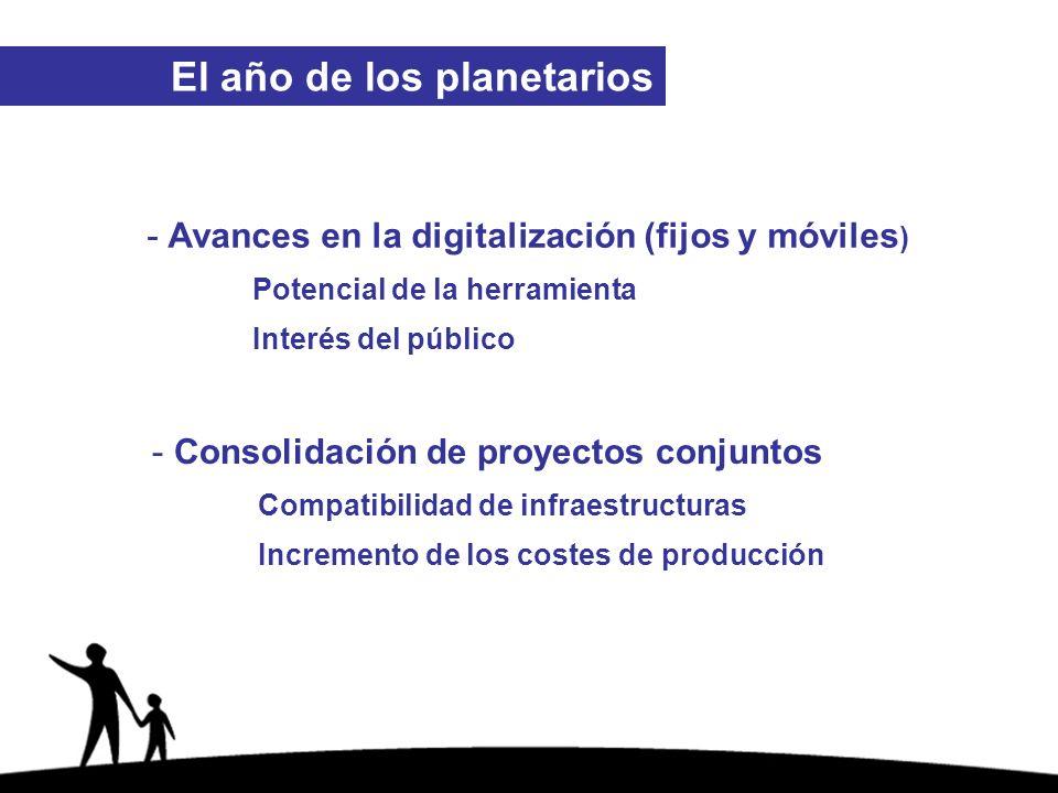 - Avances en la digitalización (fijos y móviles ) Potencial de la herramienta Interés del público - Consolidación de proyectos conjuntos Compatibilidad de infraestructuras Incremento de los costes de producción El año de los planetarios