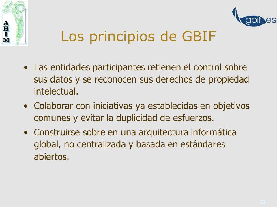 11 Los principios de GBIF Las entidades participantes retienen el control sobre sus datos y se reconocen sus derechos de propiedad intelectual.