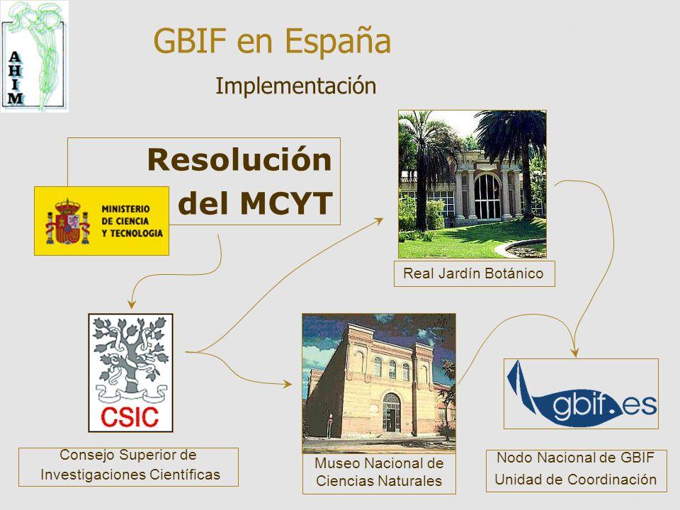 12 Museo Nacional de Ciencias Naturales Real Jardín Botánico Resolución del MCYT Consejo Superior de Investigaciones Científicas Nodo Nacional de GBIF Unidad de Coordinación Implementación GBIF en España