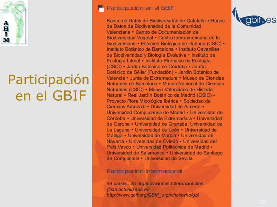 20 Participación en el GBIF