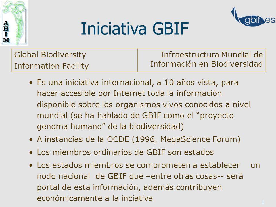 3 Iniciativa GBIF Es una iniciativa internacional, a 10 años vista, para hacer accesible por Internet toda la información disponible sobre los organismos vivos conocidos a nivel mundial (se ha hablado de GBIF como el proyecto genoma humano de la biodiversidad) A instancias de la OCDE (1996, MegaScience Forum) Los miembros ordinarios de GBIF son estados Los estados miembros se comprometen a establecer un nodo nacional de GBIF que –entre otras cosas-- será portal de esta información, además contribuyen económicamente a la inciativa Global Biodiversity Information Facility Infraestructura Mundial de Información en Biodiversidad