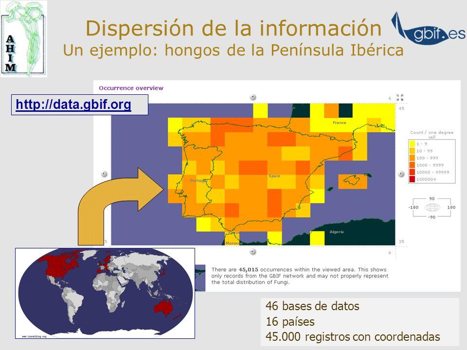 Dispersión de la información Complementariedad de las fuentes Comparativa Anthos- BDVC-GBIF viernes, 16 de febrero de 2007 11:49 Verbascum thapsus BDBCV GBIF Verbascum thapsus