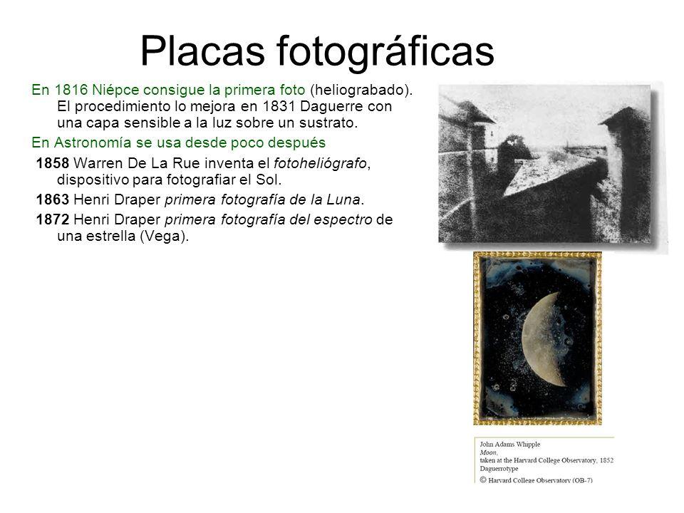 Placas fotográficas En 1816 Niépce consigue la primera foto (heliograbado). El procedimiento lo mejora en 1831 Daguerre con una capa sensible a la luz