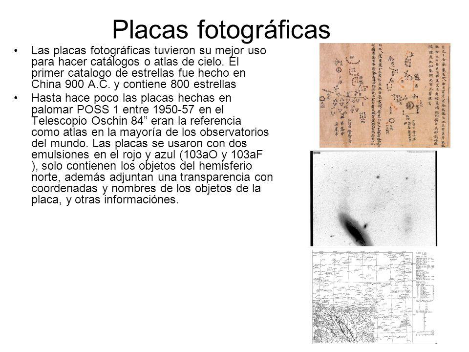 Las placas fotográficas tuvieron su mejor uso para hacer catálogos o atlas de cielo. El primer catalogo de estrellas fue hecho en China 900 A.C. y con