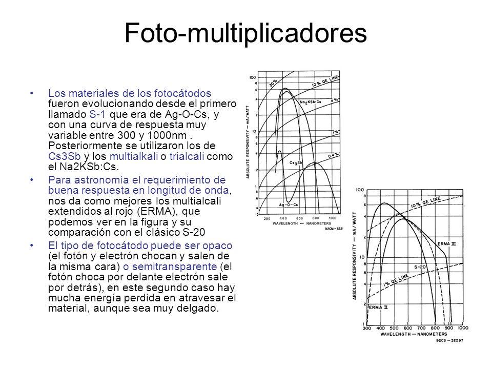 Foto-multiplicadores Los materiales de los fotocátodos fueron evolucionando desde el primero llamado S-1 que era de Ag-O-Cs, y con una curva de respue