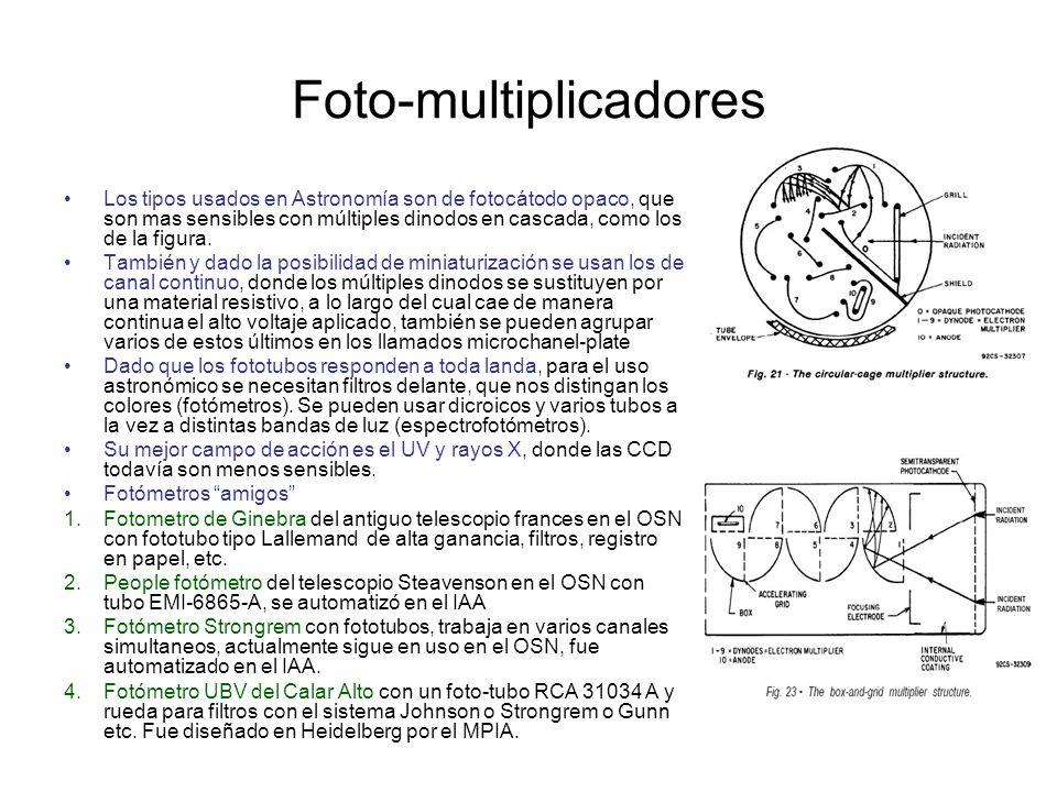 Foto-multiplicadores Los tipos usados en Astronomía son de fotocátodo opaco, que son mas sensibles con múltiples dinodos en cascada, como los de la fi