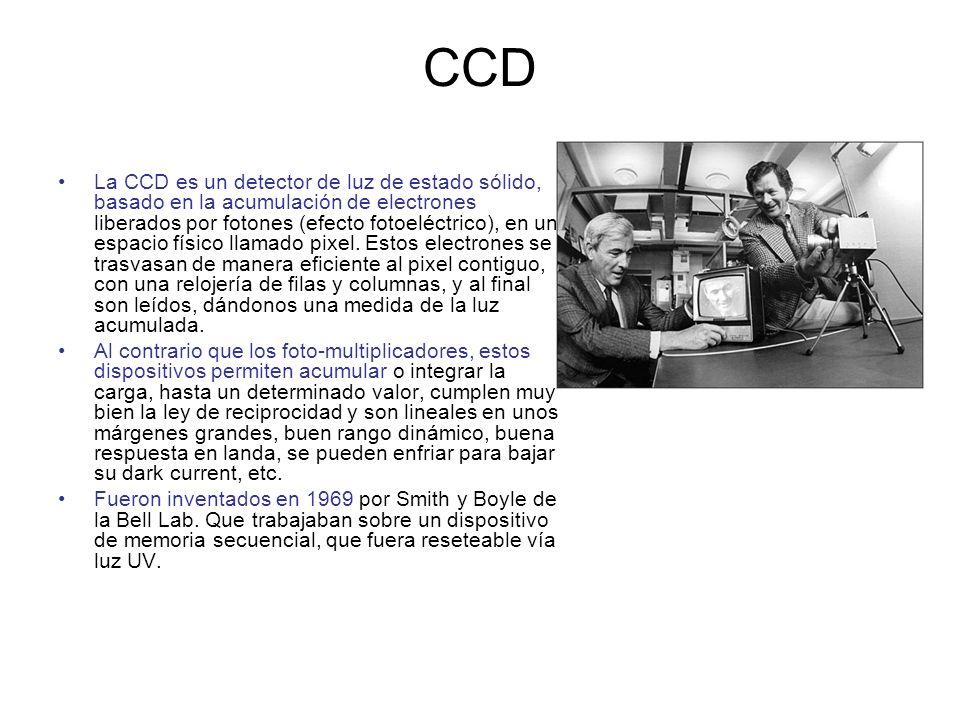 CCD La CCD es un detector de luz de estado sólido, basado en la acumulación de electrones liberados por fotones (efecto fotoeléctrico), en un espacio