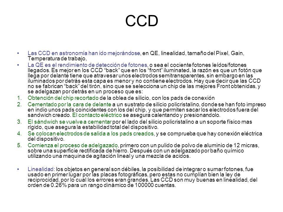 CCD Las CCD en astronomía han ido mejorándose, en QE, linealidad, tamaño del Pixel, Gain, Temperatura de trabajo, La QE es el rendimiento de detección