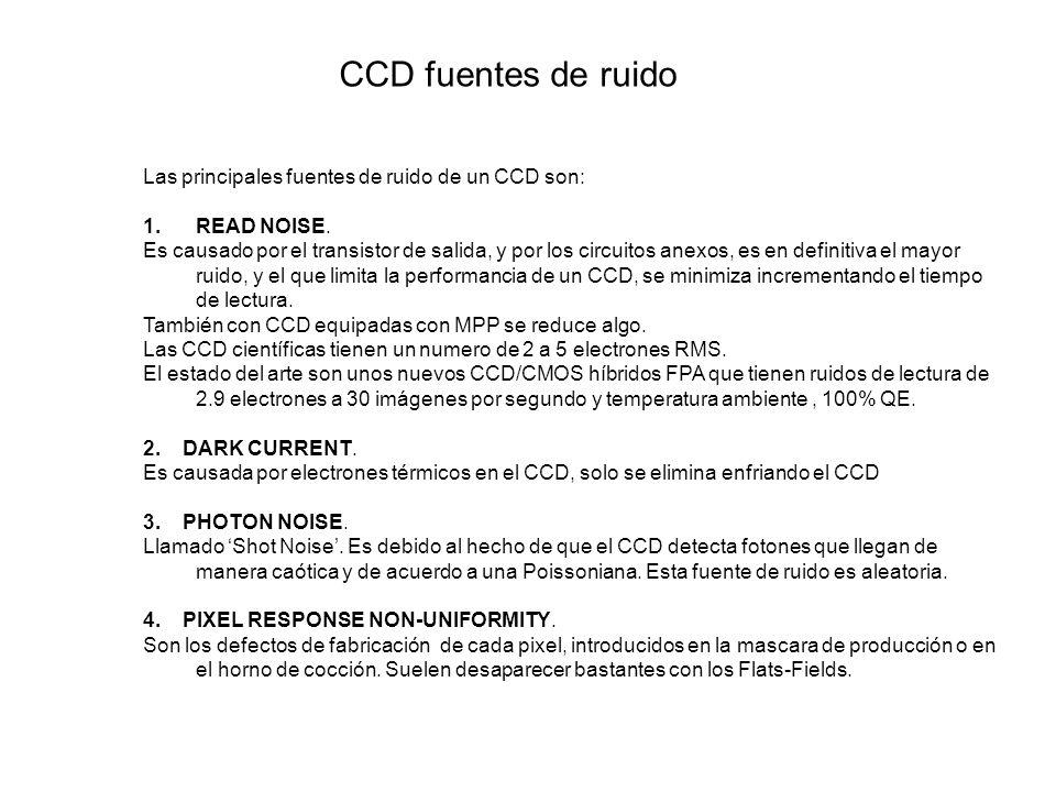 Las principales fuentes de ruido de un CCD son: 1.READ NOISE. Es causado por el transistor de salida, y por los circuitos anexos, es en definitiva el