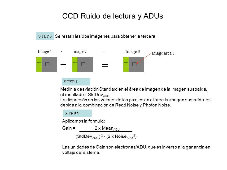 Image area 3 STEP 4 Medir la desviación Standard en el área de imagen de la imagen sustraída, el resultado = StdDev ADU. La dispersión en los valores