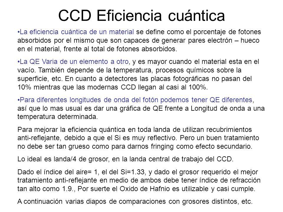CCD Eficiencia cuántica La eficiencia cuántica de un material se define como el porcentaje de fotones absorbidos por el mismo que son capaces de gener