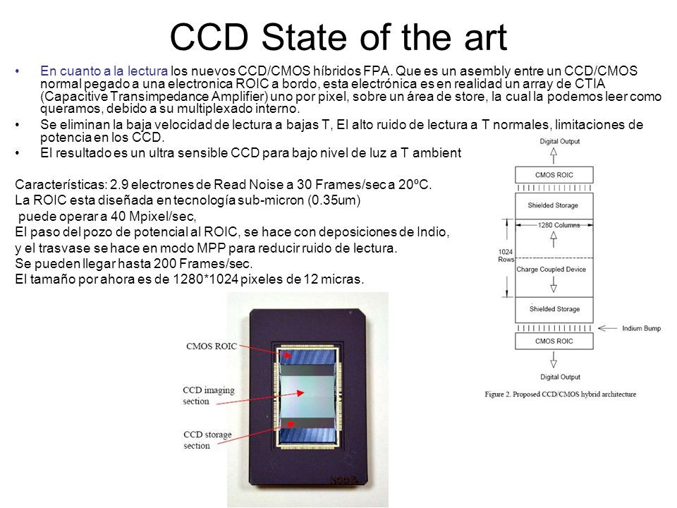 CCD State of the art En cuanto a la lectura los nuevos CCD/CMOS híbridos FPA. Que es un asembly entre un CCD/CMOS normal pegado a una electronica ROIC