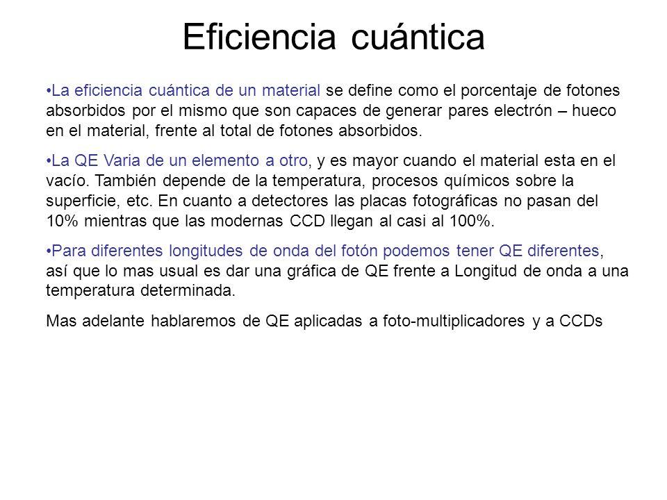 Eficiencia cuántica La eficiencia cuántica de un material se define como el porcentaje de fotones absorbidos por el mismo que son capaces de generar p