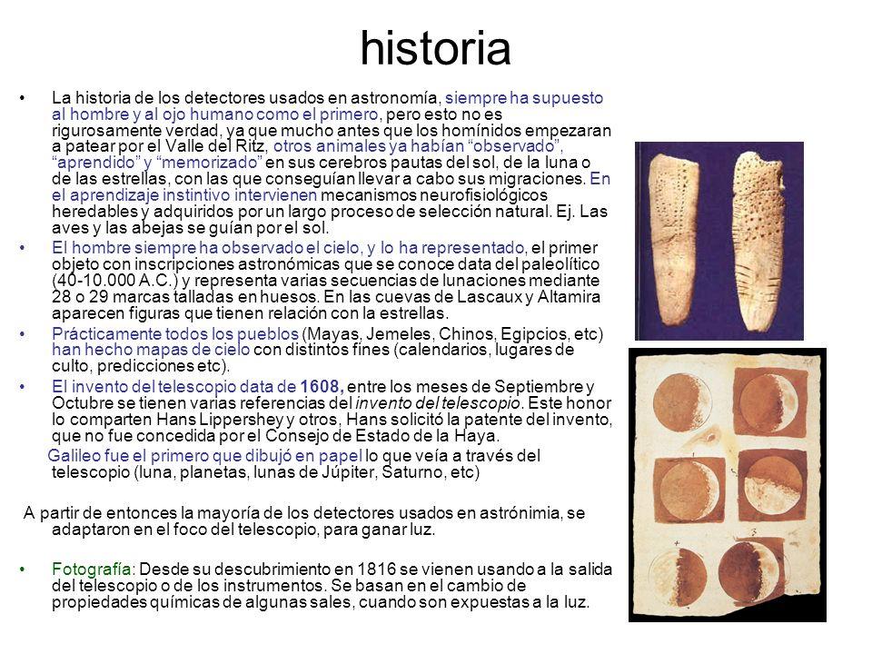 La historia de los detectores usados en astronomía, siempre ha supuesto al hombre y al ojo humano como el primero, pero esto no es rigurosamente verda