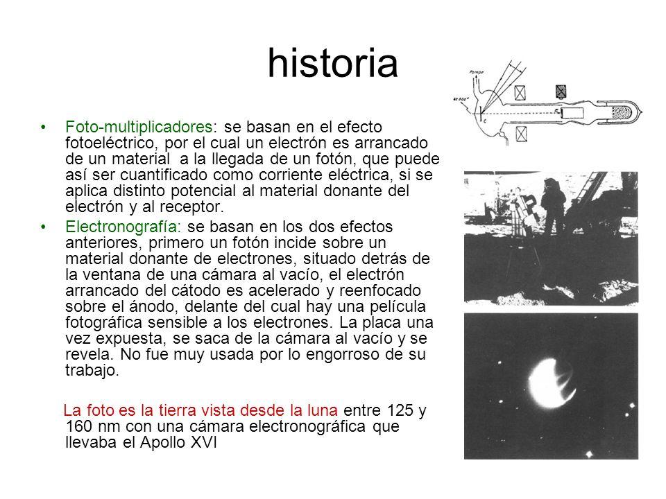 Foto-multiplicadores: se basan en el efecto fotoeléctrico, por el cual un electrón es arrancado de un material a la llegada de un fotón, que puede así